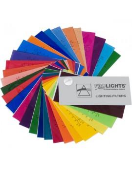 Campionario di fogli di gelatina con le 31 diverse tonalità dei filtri di colore Prolights