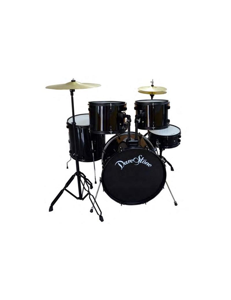 DARESTONE CLDRUM 5pezzi nera con piatti sgabello e bacchette