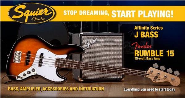 Affinity J Bass® W/ Rumble™ 15 Amp, Brown Sunburst