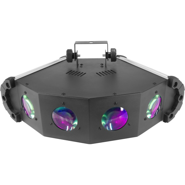 Effetto luce basato su tecnologia LED RGBWA, creazione di fasci netti e definiti con movimento in sincronia