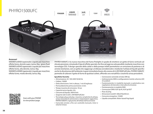FOG MACHINE, 1500W, 6X3W RGB/FULLCOLOR LED, TANICA2, 5L, CONSUMO 200ML/MIN, DMX