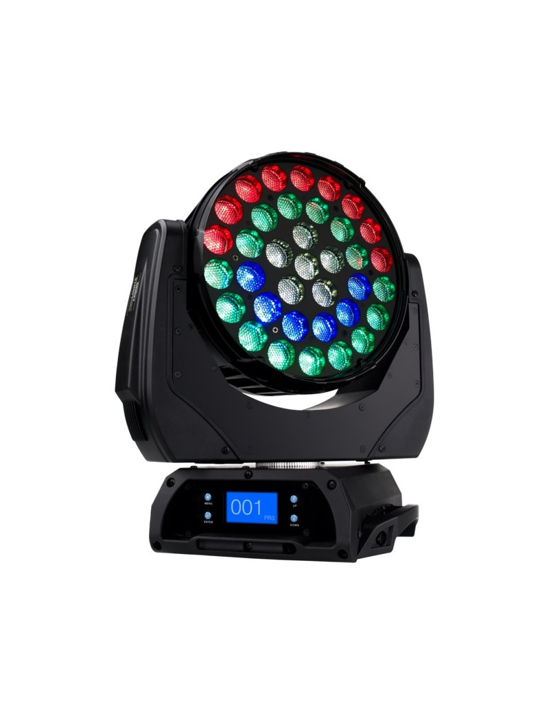 Led-Washer, 36x10W RGBW/FC LED, zoom 15-50°, ring control, 450W, 11Kg