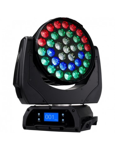 Led-Washer, 36x10W RGBW/FC LED, zoom 15-50°, ring control, 450W, 11Kg