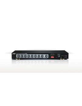 Mixer automatico 8 ingressi mic/line configurabili,   1 uscita bilanciata ; Gestione priorità e soglia di intervento. Alimentazi