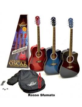 Oscar Schmidt OD45CE Rosso pack chitarra acustica elettrificata spalla mancante